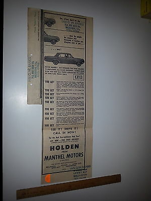 Holden HD newspaper Advert from Evening Post  NZ August 12 1965