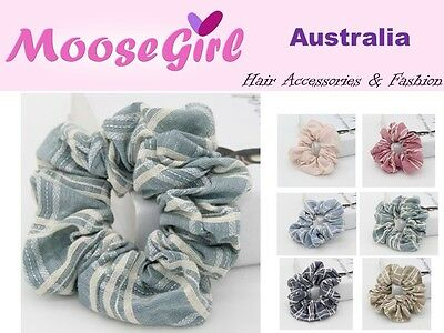 Plaids Cotton Scrunchies Hair Ring Hairtie Ponytail Holder Rubber Hairband