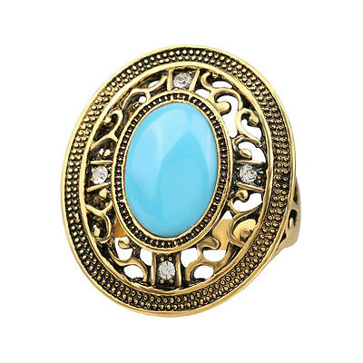 Vintage Style Antique Gold Plated Red Blue Cubic Zirconia Agate Fashion Ring US