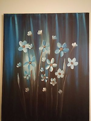 Blue flowers Hand Painted Impressionist Colorful Flower Oil Painting On Canvas
