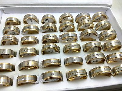 15pcs Golden 8mm Stainless Steel CZ rings Wholesale Men Women Jewelry Job Lots