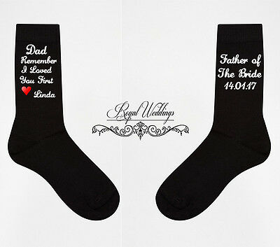 FATHER OF THE BRIDE SOCKS, Dad remember i loved you first wedding socks