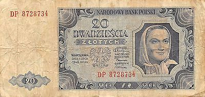 Poland 20 Zlotych 1.7.1948  P 137  Series DP  Circulated Banknote EF11