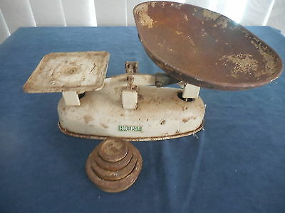 Vintage Kitchen Scales Harper Model 3178 With Weights 2 4 & 8 Ounces And 1 Lb