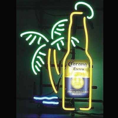 """New Corona Extra Bottle Palm Tree Beer Neon Light Sign 17""""x14"""" Fast US Shipping"""