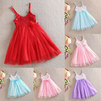 Girls Dress Vintage Flower Sparkly Lace Tulle Tutu Party Birthday Size 1-7 years