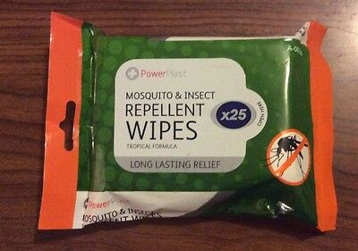 75 x Long Lasting Mosquito & Insect Repellent Wipes DEET Bite Relief Protection