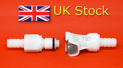 """Quick release fuel line coupling 8mm (5/16"""") high quality, dual shutoff UK Stock"""