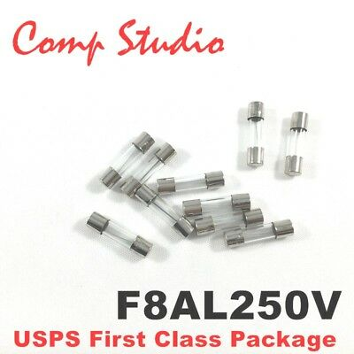 10pcs F8AL250V 8A 250V Fast Blow Fuse Quick Blow Glass Fuse 5mmX20mm US Stock