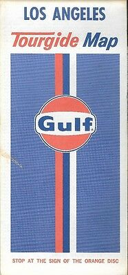 1974 GULF OIL CO Road Map LOS ANGELES California Route 66 Beverly Hills Pasadena