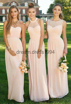 New Peach Lace/Chiffon Bridesmaid Formal Prom Party Ball Evening Dress Size 6-24