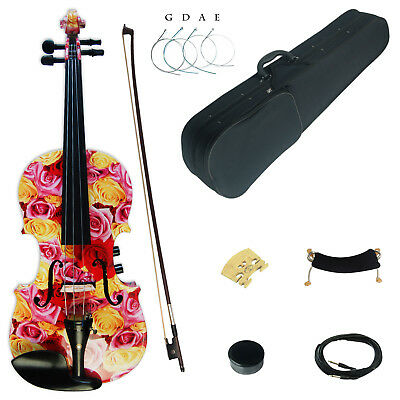 Kinglos Full Size 4/4 Colored Solid Wood Acoustic / Electric Violin Kit