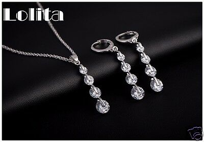 Wedding Bridal Formal White Gold Layered Silver Necklace Earring Set