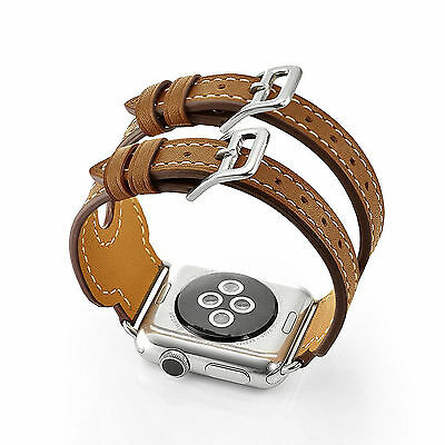 Brown Leather Cuff Watch Strap Band for Apple Watch iwatch 42mm Series 1 & 2