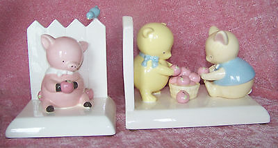 Vintage Ceramic Bookends By Michel & Co - Pig And Bears
