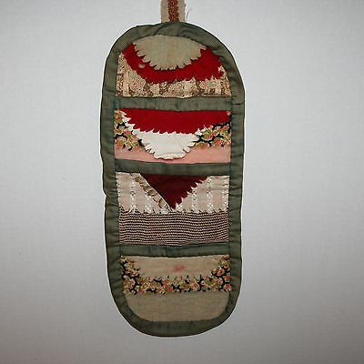 Antique Sewing Case Hand Made With Pin Cushion Pockets Roll Up
