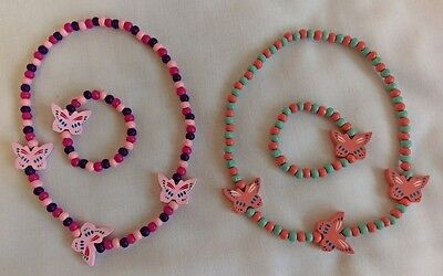 Kids Wooden Butterfly Necklace and Bracelet set (Pink,purple,peach, turquoise)