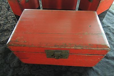 Antique Red Asian Storage Box