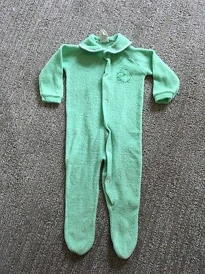 Vintage 60s Terrycloth Easter Green Bunny Footed Sleeper 11 To 18 Pounds
