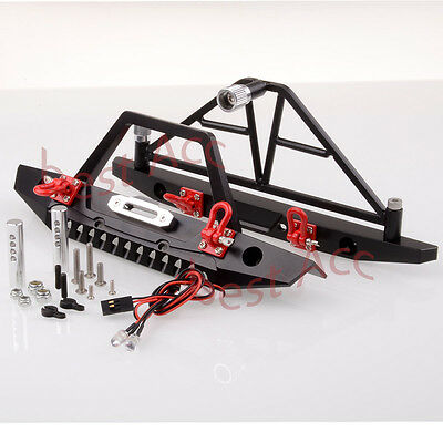 Front / Rear Bumper Spare Tire Carrier LED RC 1:10 AXIAL SCX10 Crawler Metal HSP