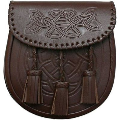 Scottish Highland Original 100% Leather Brown Celtic Embossed Sporrans