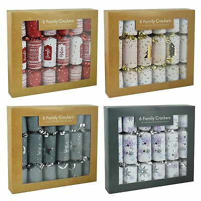 6 Pack Luxury Mini Christmas Crackers Novelty Family Xmas Festive Party Gifts