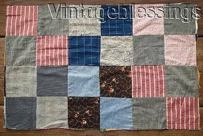"""Antique c1880 QUILT Top Piece C 25"""" x 16 /4"""" Make Doll or Table Quilt"""