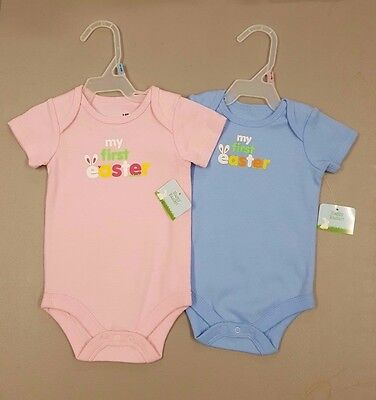 NWT Baby Boy Girl My First Easter Holiday Bodysuit Clothing Blue Pink 0-3 3-6