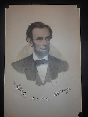 Large President Abraham Lincoln 1864 Hand Colored Engraving