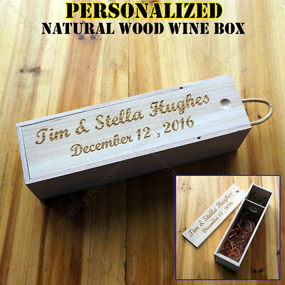 Personalized Bottle Wooden Wine Box Wedding Groomsman Bridesmaid Birthday Gift z