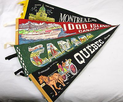 Vintage Lot of 4 Canadian Canada Souvenir Felt Wall Pennants from 1960s and 70s