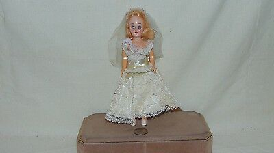 "Vintage 8"" Plastic Sleepy Eyes Doll In White Dress"