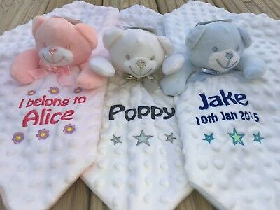 Dimpled Personalised Embroidered Teddy Baby Comforter Snuggle Blankie Taggie