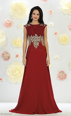 Red Carpet Evening Formal Prom Pageant Cap Sleeve Dresses Special Occasion Gowns