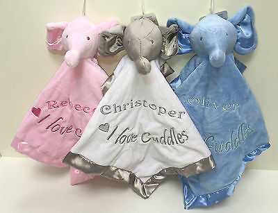 Personalised Embroidered Elephant I Love Cuddles Baby Comforter Blankie Taggie