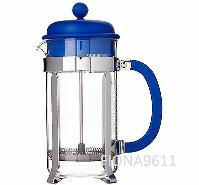BODUM 8 CUP 1L CAFETIERE FRENCH PRESS COFFEE MAKER BLUE with COFFEE SCOOP *NEW*