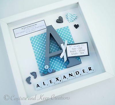 Handmade Personalised Baby/Child Keepsake Frame Christening New Baby Gift