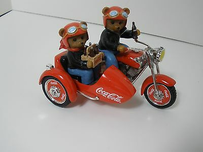 Hamilton Collection Numbered Coca Cola Bears Riding Motorcycle Figurine Mint!!