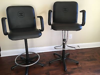 CHANEL Authentic Black Swivel Chairs (SET OF TWO)