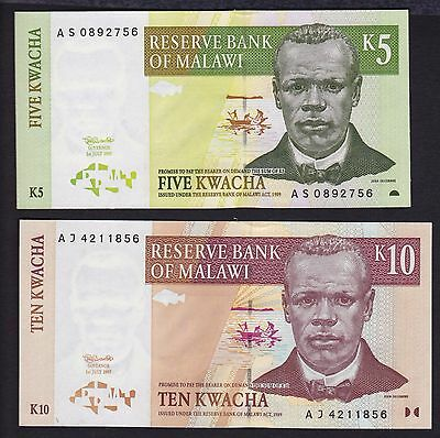 Malawi lot of 2 banknotes 5 and 10 Kwacha 1997 P 36 and P 37 both are UNC