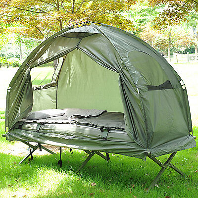 Outdoor One-person Folding Dome Tent Hiking Camping Bed Cot W/ Sleeping Bag New
