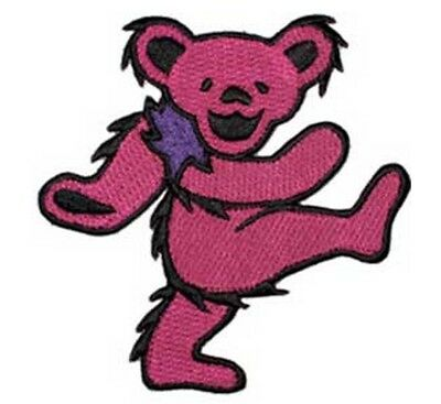 "Grateful Dead Dancing Pink Bear Iron On Patch 2"" x 1 1/4"" Licensed C&D P1210"