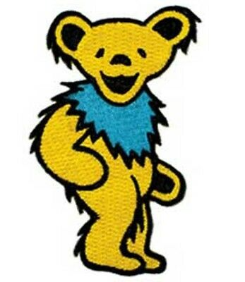 "Grateful Dead Dancing Yellow Bear Iron On Patch 2"" x 1 1/4"" Licensed P1206"