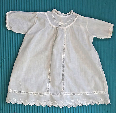 Original Antique Baby Christening Gown Dress White Cotton Vtg Doll Clothing