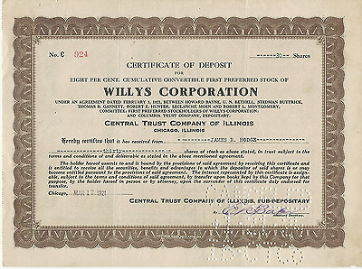 1921 WILLYS CORPORATION Certificate of Deposit CENTRAL TRUST Company of Illinois