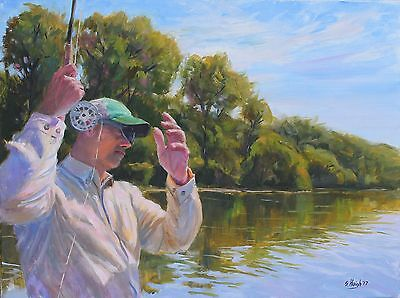 Original Oil Painting Fly Fish Cast Rod River Stream White River 18x24 Haigh