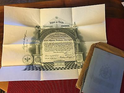 1931 Masonic Certificate & Reunion Booklet Ancient Accepted Scottish Rite Masons