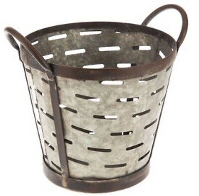 Galvanized Rustic Metal Olive Bucket  with Handles Shabby Chic Decor New