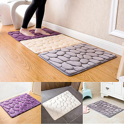 Cobblestone Non-Slip Rug Soft Bathroom Carpet Memory Foam Bath Mat Floor Carpet