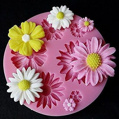 3D Daisy Flower Fondant Mold Silicone Sugarcraft Cake Decorating DIY Mould